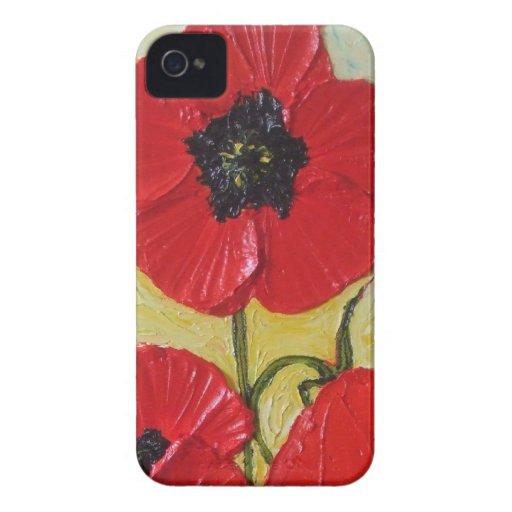 Caja roja del iPhone 4 de la amapola Case-Mate iPhone 4 Protector