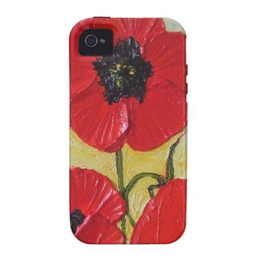 Caja roja del iPhone 4 de la amapola Vibe iPhone 4 Carcasas