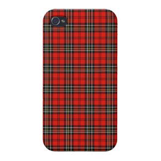 Caja roja del iPhone 4 de la tela escocesa del vin iPhone 4 Fundas