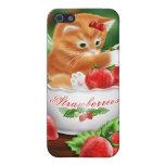 Caja roja del iPhone 4 de las fresas del gato anar iPhone 5 Carcasa