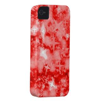Caja roja del iphone 4 del brillo y de las estrell iPhone 4 cobertura
