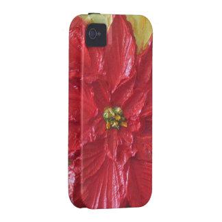 Caja roja del iPhone 4 del Poinsettia de París iPhone 4/4S Funda