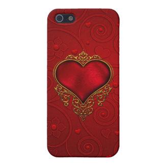 Caja roja del iPhone 5/5S del corazón iPhone 5 Carcasas