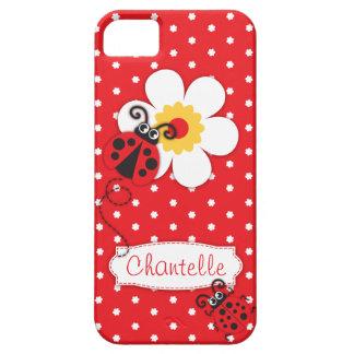 Caja roja del iphone 5 de la mariquita del nombre funda para iPhone 5 barely there
