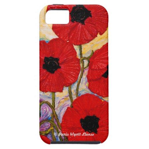 Caja roja del iPhone 5 de las amapolas iPhone 5 Carcasas