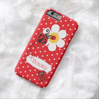 Caja roja del iphone 6 de la mariquita del nombre funda barely there iPhone 6
