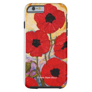 Caja roja del iPhone 6 de las amapolas