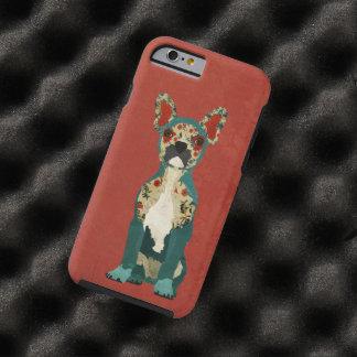 Caja roja del iPhone 6 del dogo floral francés Funda De iPhone 6 Tough