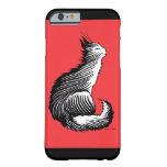 """Caja roja del iPhone 6 del """"gato feliz"""" Funda De iPhone 6 Barely There"""
