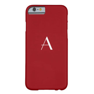 Caja roja del iPhone 6 del monograma de la sangría Funda Barely There iPhone 6
