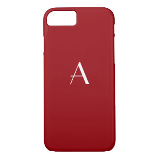 Caja roja del iPhone 7 del monograma de la sangría Funda iPhone 7