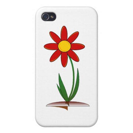 Caja roja del iphone de la flor iPhone 4 protectores
