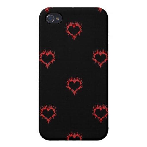 Caja roja del iPhone de los corazones de la llama iPhone 4 Protector