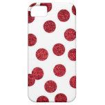 Caja roja del iPhone del brillo (lunares) iPhone 5 Carcasa