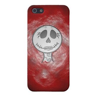 Caja roja del iPhone del cráneo iPhone 5 Carcasas