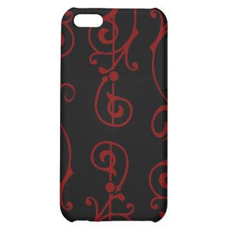 Caja (roja) del iPhone del ébano de la fibrilla