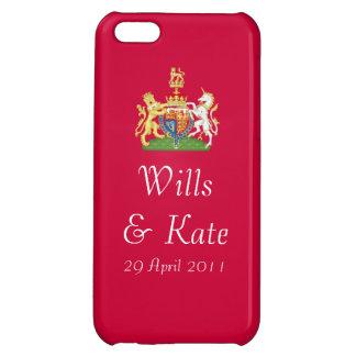 Caja roja del iPhone del escudo de armas real del