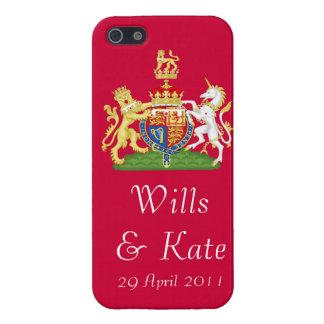 Caja roja del iPhone del escudo de armas real del iPhone 5 Fundas