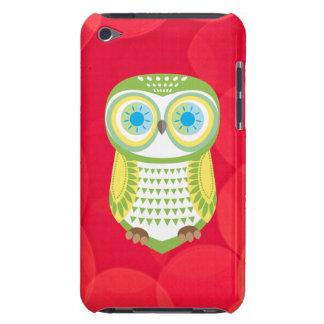 Caja roja del tacto de iPod del fondo del búho ver iPod Touch Funda