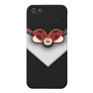 Caja roja del teléfono celular de la mariquita iPhone 5 fundas