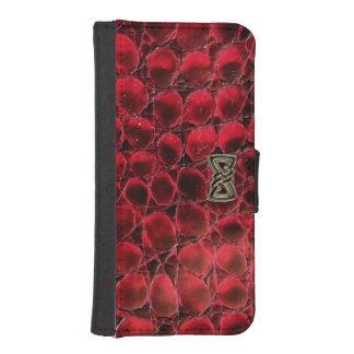Caja roja del teléfono de la cartera del reptil fundas billetera de iPhone 5