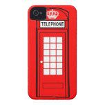 Caja roja del teléfono de Londres con la corona iPhone 4 Case-Mate Protectores