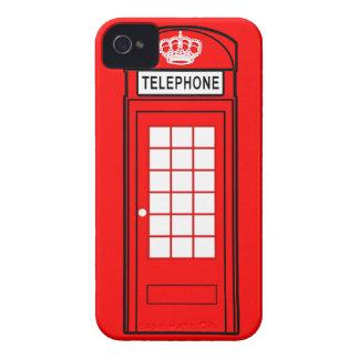 Caja roja del teléfono de Londres con la corona iPhone 4 Carcasas