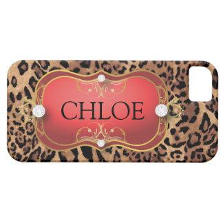 Caja roja del teléfono del leopardo del Ciao Bella iPhone 5 Protectores