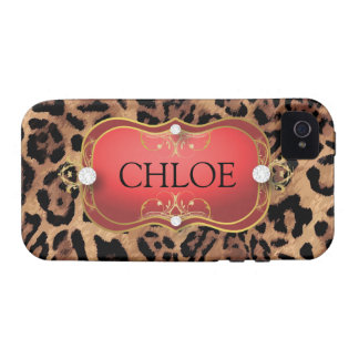 Caja roja del teléfono del leopardo del Ciao Bella Case-Mate iPhone 4 Carcasas