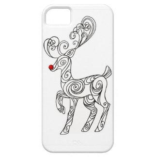 Caja roja del teléfono del reno de la nariz de funda para iPhone SE/5/5s