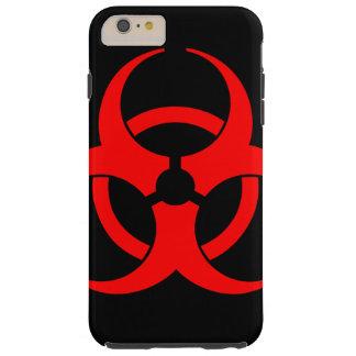 Caja roja del teléfono del símbolo del Biohazard Funda Resistente iPhone 6 Plus