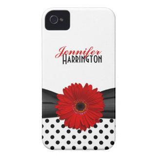 Caja roja elegante del iPhone 4 del lunar de la ma iPhone 4 Case-Mate Cárcasas