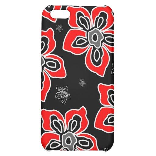 Caja roja gráfica del iPhone 4 de la flor