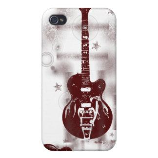 Caja roja gráfica del iPhone de la guitarra iPhone 4 Funda