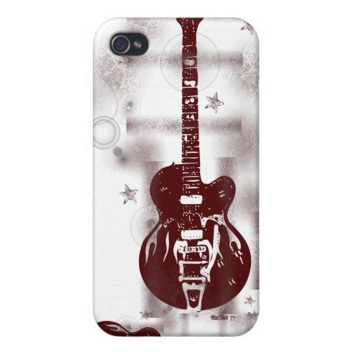 Caja roja gráfica del iPhone de la guitarra iPhone 4/4S Funda