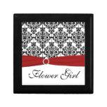 Caja roja, negra, blanca de la baratija del floris cajas de recuerdo