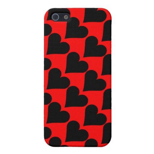 Caja roja negra de los corazones del amor iPhone 5 cárcasas