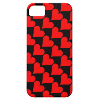 Caja roja negra de los corazones del amor funda para iPhone 5 barely there