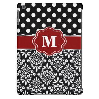 Caja roja negra elegante del monograma del damasco funda para iPad air