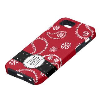 Caja roja personalizada del modelo de Paisley iPhone 5 Cobertura