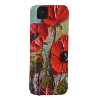 Caja roja popular del iPhone 4 de las amapolas Funda Para iPhone 4