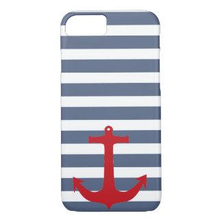 Caja roja rayada del azul marino y blanca del funda iPhone 7