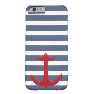 Caja roja rayada del azul marino y blanca del funda para iPhone 6 barely there
