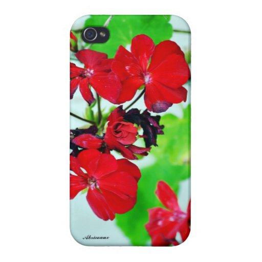 Caja roja sangre del iPhone 4/4s de la flora iPhone 4 Cárcasas