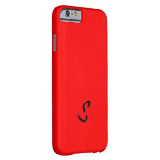 Caja roja sólida del iPhone 6 del monograma Funda De iPhone 6 Barely There