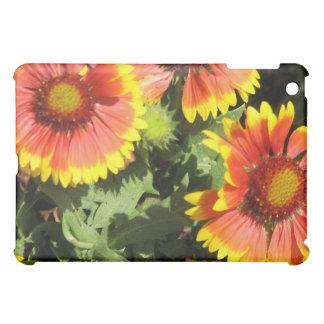 Caja roja y amarilla del iPad de las flores