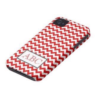 Caja roja y blanca de Chevron del iPhone 4/4S iPhone 4 Cárcasa