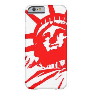 Caja roja y blanca del iPhone 6 de señora Liberty Funda Barely There iPhone 6