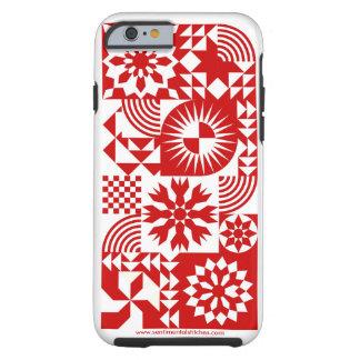 Caja roja y blanca del iPhone 6 del edredón Funda Para iPhone 6 Tough