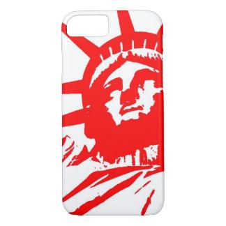 Caja roja y blanca del iPhone 7 de señora Liberty Funda iPhone 7